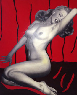 1st Centerfold Marilyn Monroe Playboy Magazine 2004 48x39 Unique Original Painting by Steve Kaufman
