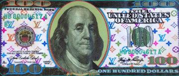 $100 Bill Louis Vuitton  2000 22x49 Original Painting - Steve Kaufman