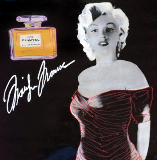 Marilyn Chanel #5 Black Signature Model Unique 2000 46x46 Super Huge Original Painting - Steve Kaufman