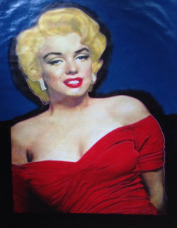 Marilyn Elegant Red Dress Unique 2002 48x35 Super Huge Original Painting - Steve Kaufman