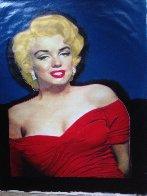 Marilyn Elegant Red Dress Unique 2002 48x35 Huge Original Painting by Steve Kaufman - 1