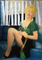 Marilyn Laughing Unique 2000 48x36 Super Huge Original Painting by Steve Kaufman - 0