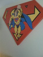 Superman Shield Reverse Colors Canvas Painting  1995 36x50 Limited Edition Print by Steve Kaufman - 2