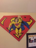 Superman Shield Reverse Colors Canvas Painting  1995 36x50 Limited Edition Print by Steve Kaufman - 1