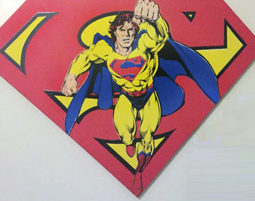Superman Shield Reverse Colors Canvas Painting  1995 36x50 Limited Edition Print - Steve Kaufman