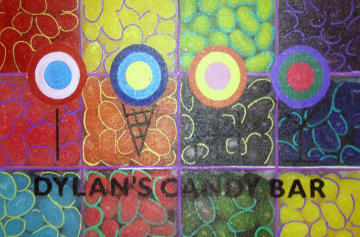 Dylan's Candy Bar Jelly Beans 2007 Unique 23x15 Original Painting - Steve Kaufman