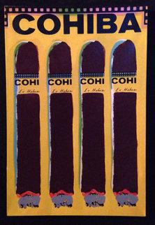Cuatro Cohibas (Yellow) 1997 Limited Edition Print by Steve Kaufman