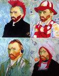 4 Sides of Van Gogh Unique 46x35 Original Painting - Steve Kaufman