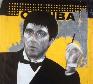 Al Pacino Cohiba Scarface Unique 40x40 Super Huge Original Painting - Steve Kaufman