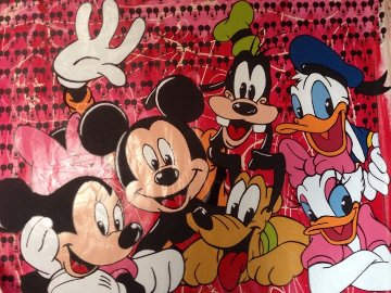 Disney Gang Red Jackson Pollock Unique 2000 37x47  Original Painting - Steve Kaufman