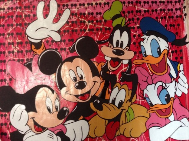 Disney Gang Red Jackson Pollock Unique 2000 37x47  Original Painting by Steve Kaufman