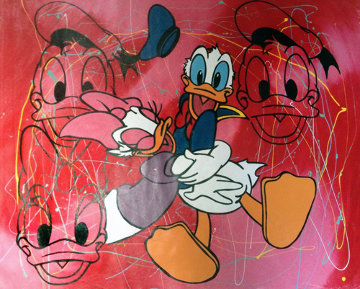 Disney Donald And Daisy Duck Red Pollock Unique 2000 37x45 Original Painting - Steve Kaufman