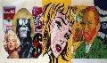 3 Masters Warhol Lichtenstein Van Gogh  2000 24x48 Unique Original Painting - Steve Kaufman