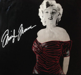 Marilyn Chanel #5 Black No Bottle 1996 46x46 Unique Original Painting - Steve Kaufman