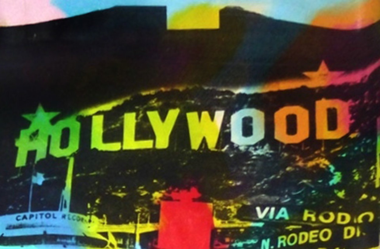 Hollywood Sign Unique 22x32 Original Painting by Steve Kaufman