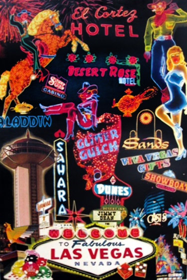 Las Vegas Icons 1999 61x40 Unique Original Painting by Steve Kaufman