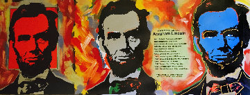 Abe Lincoln 2000 Unique 15x12 Original Painting - Steve Kaufman