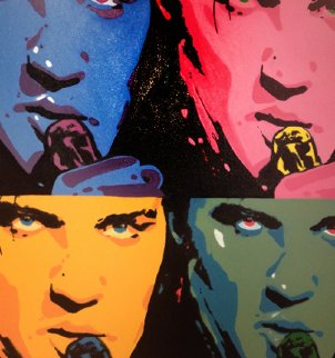 Elvis Quad Unique 2008 40x40 Original Painting - Steve Kaufman