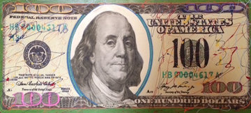 New $100 Bill Unique 2007 20x46 Original Painting - Steve Kaufman