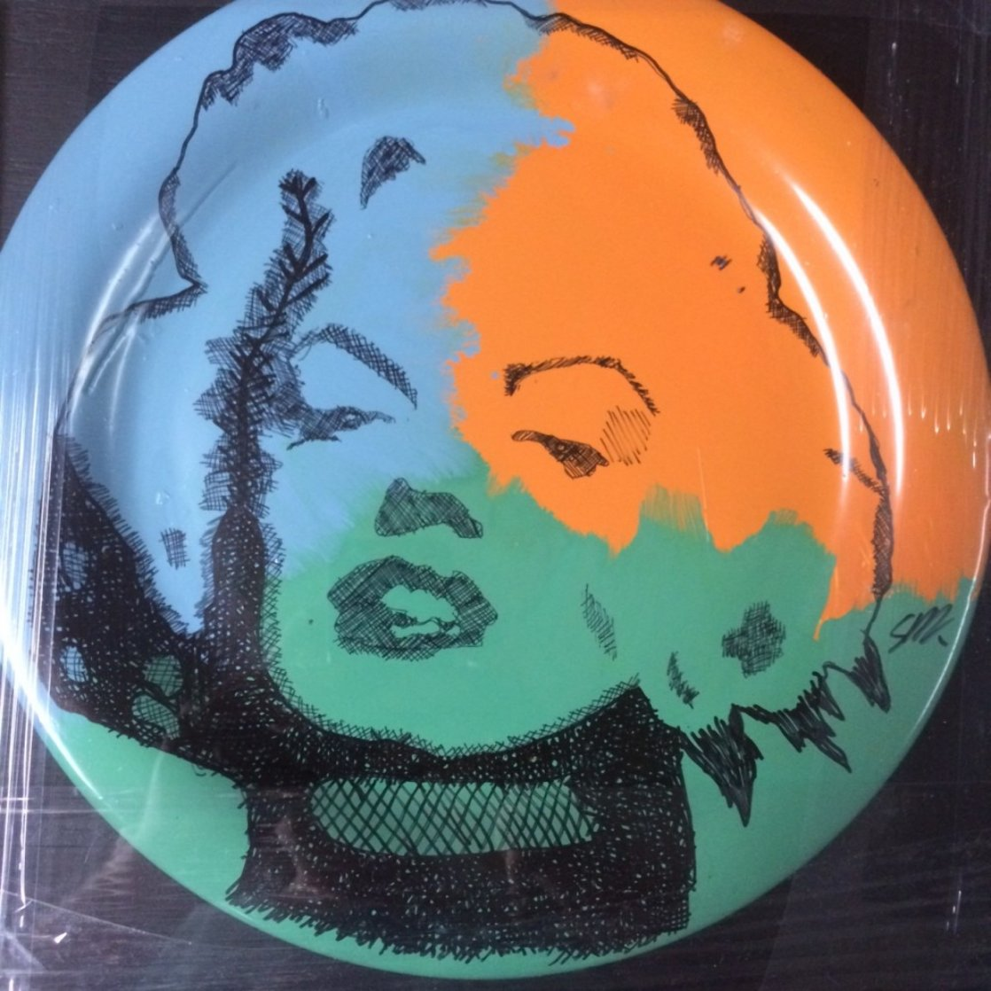 Marilyn Monroe Ceramic Plate Unique Original Painting by Steve Kaufman