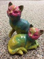 Cats Acrylic Sculpture Unique Sculpture by Steve Kaufman - 0