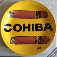 Cohiba Cigars Ceramic Plate Unique Original Painting by Steve Kaufman - 0