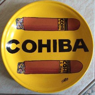 Cohiba Cigars Ceramic Plate Unique Original Painting by Steve Kaufman