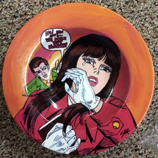 Lichtenstein Crying Girl Ceramic Bowl Other by Steve Kaufman
