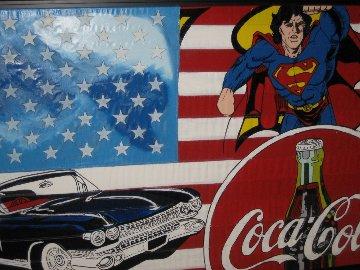 American Flag Icon #3 2005 Rare  Unique 37x57 Original Painting by Steve Kaufman