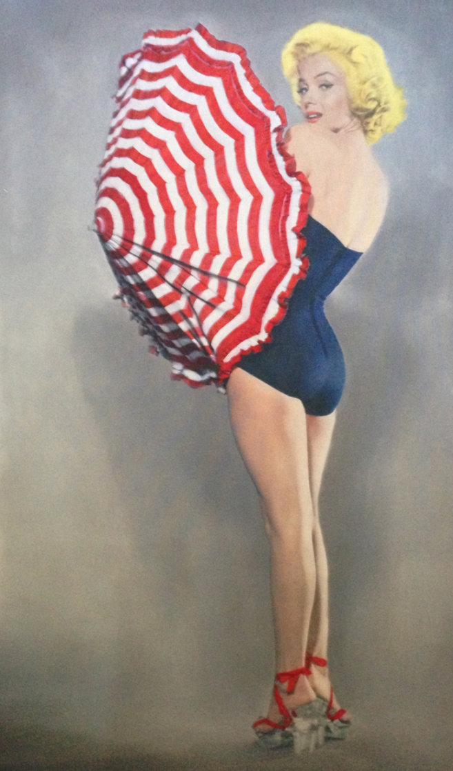 Marilyn With Umbrella 2009 56x34 Huge Limited Edition Print by Steve Kaufman