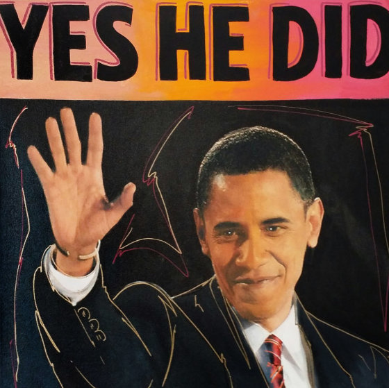 Barack Obama Yes He Did Unique 20x20 Original Painting by Steve Kaufman