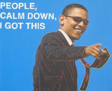 Barack Obama, I Got This! Unique 2009 24x20 Original Painting by Steve Kaufman