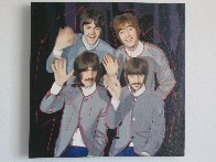 Beatles in Grey Jackets Unique 2002 19x19 Original Painting by Steve Kaufman - 1