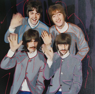Beatles in Grey Jackets Unique 2002 19x19 Original Painting - Steve Kaufman