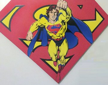 Superman Sheild Yellow on Red AP 1995 Limited Edition Print by Steve Kaufman