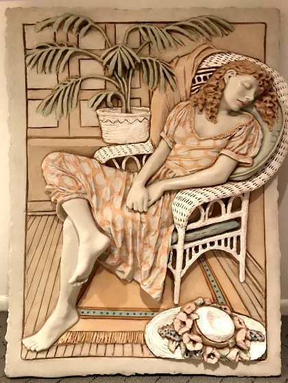 Untitled Bas-Relief Ceramic Sculpture 1985 44 in by Emily Kaufman