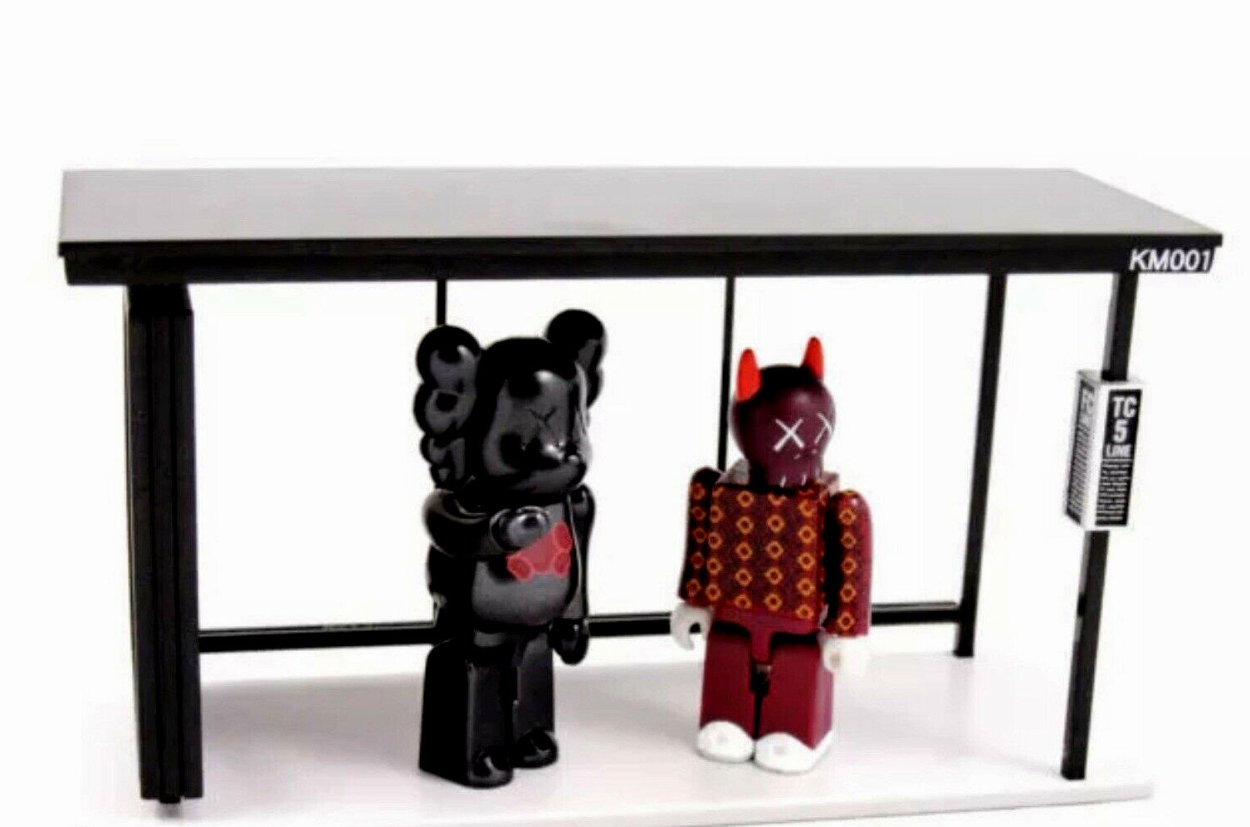 Kaws X Kubrick Set 1 Bus Stop - Bearbrick Medicom Vinyl Sculpture (Purple) 8 in Sculpture by  KAWS