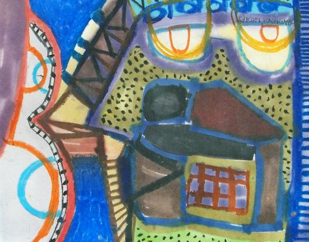 Night Spirit Mask Pastel 1980 Works on Paper (not prints) by Kofi Kayiga