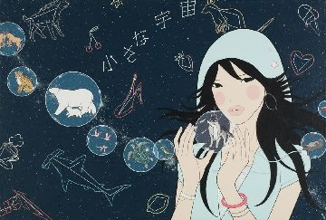 Small Universe 2007 23x34 Original Painting - Yumiko Kayuawa