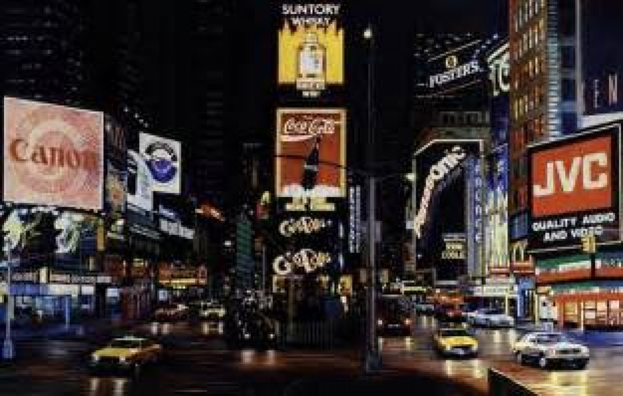 Times Square Night - Way It is AP 1995 Limited Edition Print by Ken Keeley