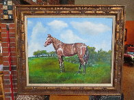 Untitled Horse Portrait 1970 33x38 Original Painting by Ken Keeley - 1