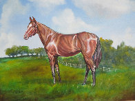 Untitled Horse Portrait 1970 33x38 Original Painting by Ken Keeley - 2