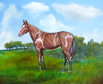 Untitled Horse Portrait 1970 33x38 Original Painting - Ken Keeley