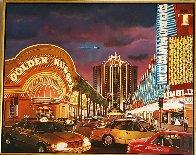 Untitled Las Vegas Cityscape 1995 50x62 Super Huge Original Painting by Ken Keeley - 1