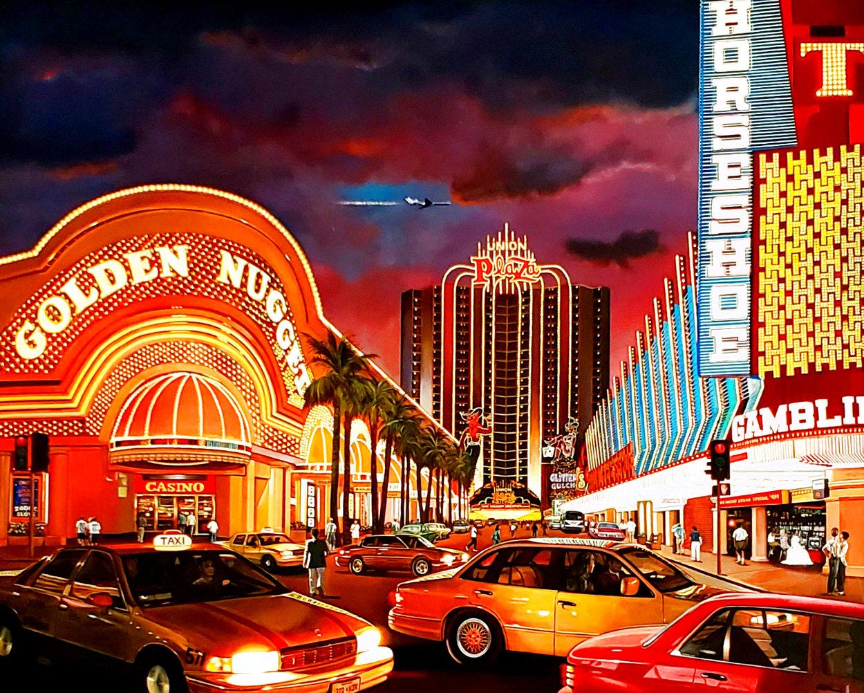 Untitled Las Vegas Cityscape 1995 50x62 Super Huge Original Painting by Ken Keeley