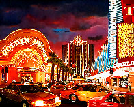 Untitled Las Vegas Cityscape 1995 50x62 Super Huge Original Painting by Ken Keeley - 0