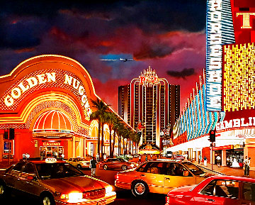 Untitled Las Vegas Cityscape 1995 50x62 Super Huge Original Painting - Ken Keeley