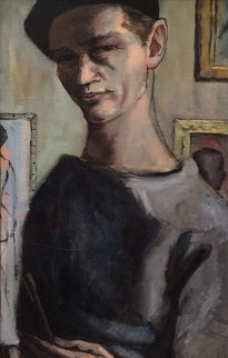 Artist As a Young Man 1965 15x33 Original Painting - Margaret D. H. Keane