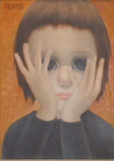 Face And Hands 1959 16x19 (Big Eyes) Original Painting - Margaret D. H. Keane