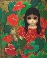 Anthurium Princess 1978 33x29 Original Painting - Margaret D. H. Keane